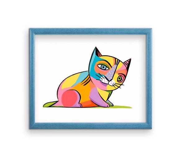 Picasso Cat Art Print Cubism Cat Art Print Cat Drawing Etsy