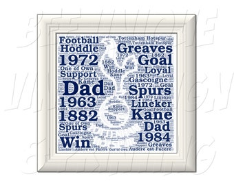 92bc840321f9 Personalised Tottenham Hotspur (Spurs) Word Wall Print - Ideal Fathers Day  Gift