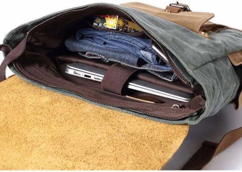 Laptop Waxed Canvas Leather Vintage Backpack Hiking Rucksack Travel Backpack Men Women