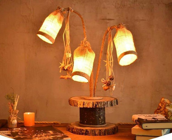 Rustic Plywood Cockboat Wooden Lampshade lighting Handmade Decorative table lamp farmhouse lamp desk lamp lambader