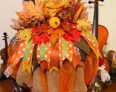 Pumpkin Wreath , Fall Wreath , Burlap and Ribbon Wreath , Modern Farmhouse Wreath