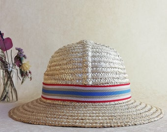 f419de7a Small vintage natural straw bucket hat for girls.