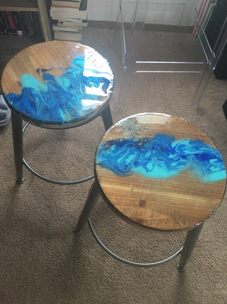 Wondrous Resin Waterfall Style Bar Stools Wood And Metal Bralicious Painted Fabric Chair Ideas Braliciousco