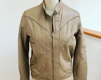 Vintage 1980's Tan Leather Jacket Small