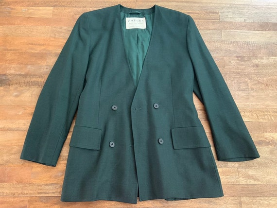 Vintage 1990's Jaeger Green Double Breasted Blazer - image 6