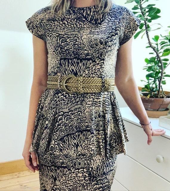 Vintage 1980's Feather Print Peplum Dress. - image 2