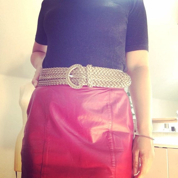 Vintage 1980's Red Leather Pencil Skirt - image 5