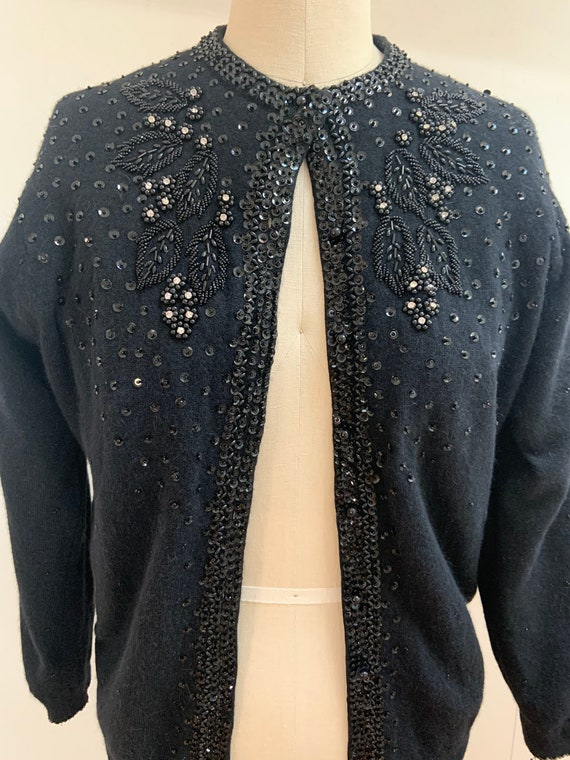 Vintage Black Wool Beaded Cardigan Medium