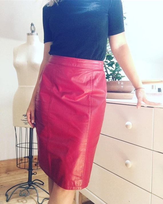 Vintage 1980's Red Leather Pencil Skirt - image 1