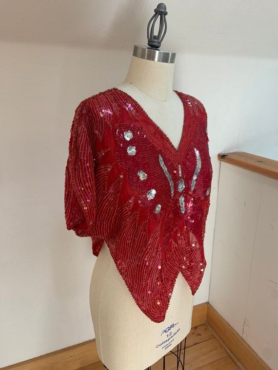 Vintage 1980's Red Sequined Butterfly Blouse - image 10
