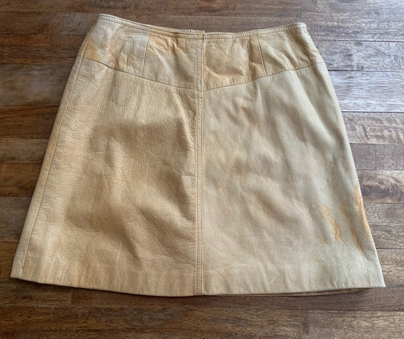 Vintage Tan Leather Snap Front Western Mini Skirt… - image 9
