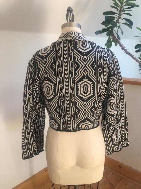 Vintage Cropped 1980's Geometric Woven Jacket - image 2