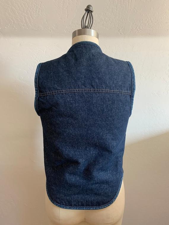 Vintage Denim Shearling Snap Front Vest Small - image 3