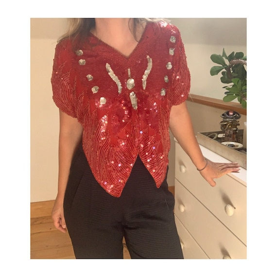 Vintage 1980's Red Sequined Butterfly Blouse - image 4