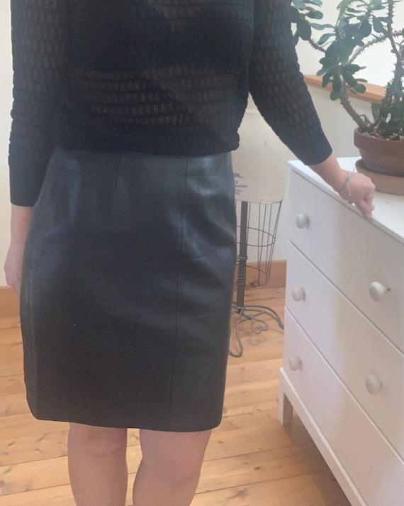 """Vintage 1980's Black Leather Pencil Skirt 29"""" Wais"""