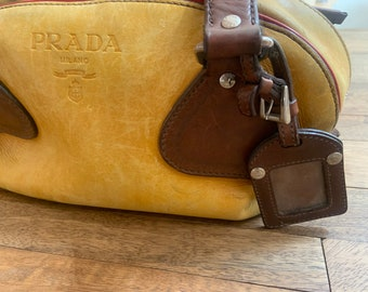 Vintage Prada Yellow Leather Satchel with Two Zipper Closure, Red Piping Trim