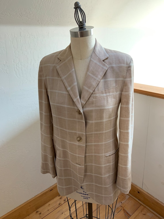 Vintage 1990's Tan Plaid Armani Blazer Medium - image 1