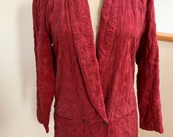 Vintage Red Embroidered Rayon Doublebreasted Blazer, Small