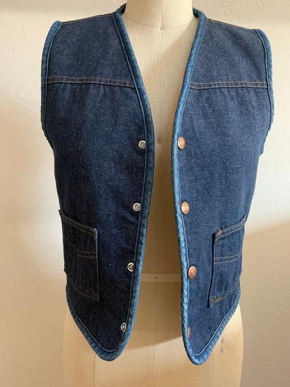 Vintage Denim Shearling Snap Front Vest Small - image 2
