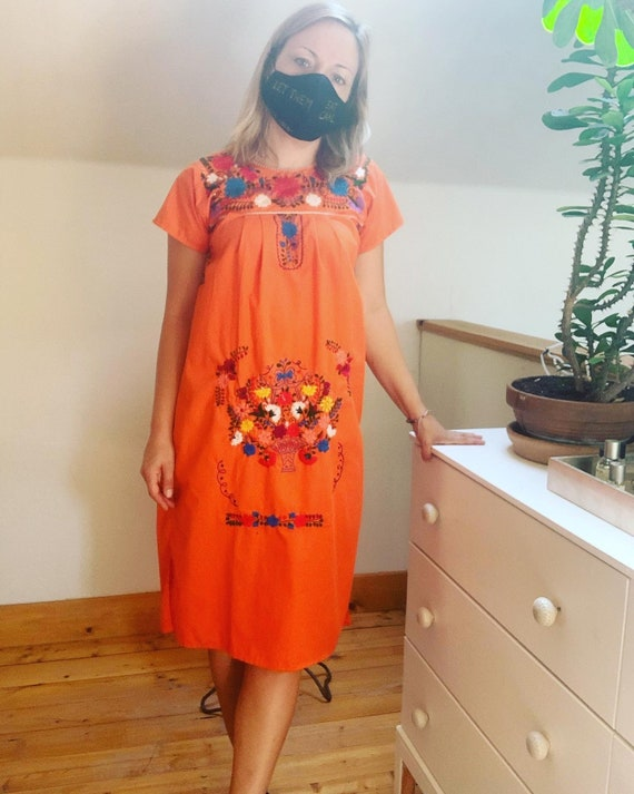 Hand Embroidered Orange Mexican Puebla Dress Small