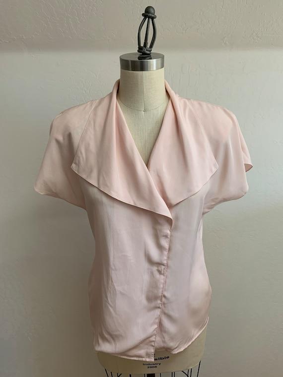 Vintage 1980's Pink Blouse Medium - image 1