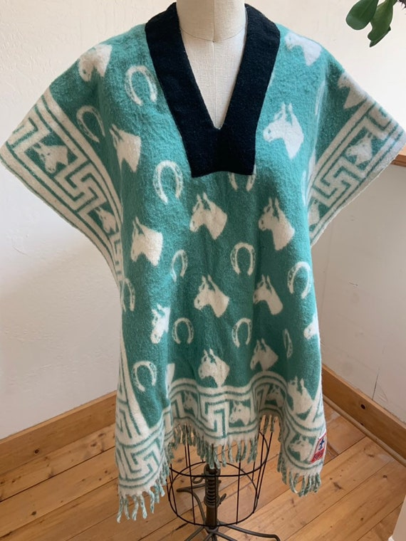 Vintage Reversible Mexican Blanket Poncho