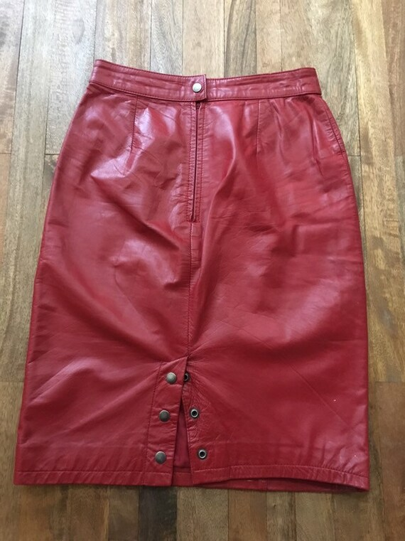 Vintage 1980's Red Leather Pencil Skirt - image 4