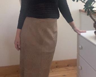 """Vintage 1980's Brown Leather Embossed Animal Print A-Line Skirt Medium/Large 31"""" Waist"""