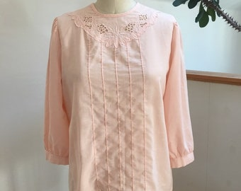 Vintage Pink Embroidered Cutwork Lace  Top