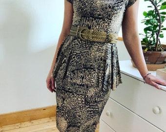 Vintage 1980's Feather Print Peplum Dress.