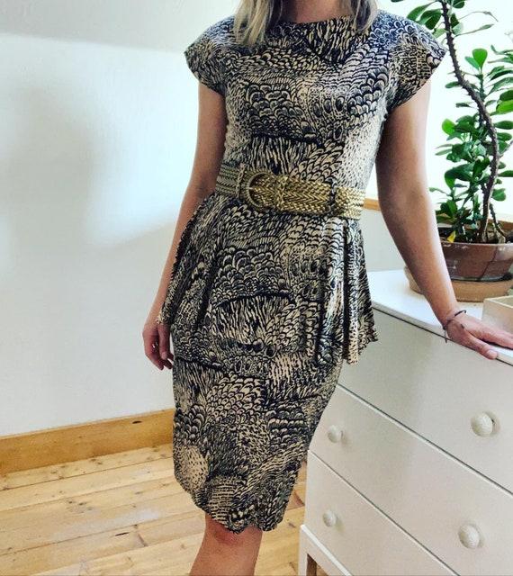 Vintage 1980's Feather Print Peplum Dress. - image 1