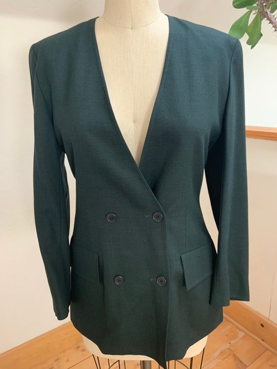 Vintage 1990's Jaeger Green Double Breasted Blazer - image 1