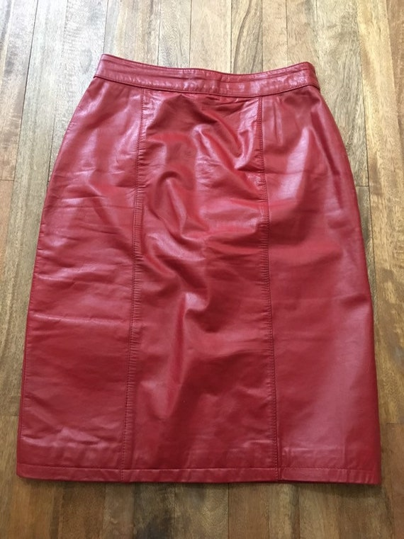 Vintage 1980's Red Leather Pencil Skirt - image 3