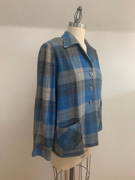Vintage Women's Plaid Wool Shirt Swing Jacket Medi
