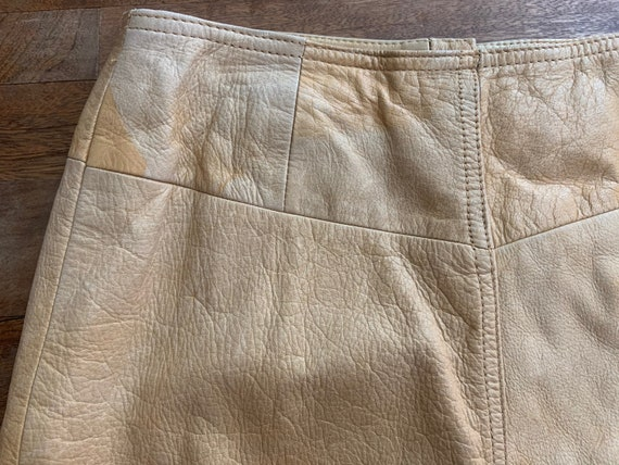 Vintage Tan Leather Snap Front Western Mini Skirt… - image 2