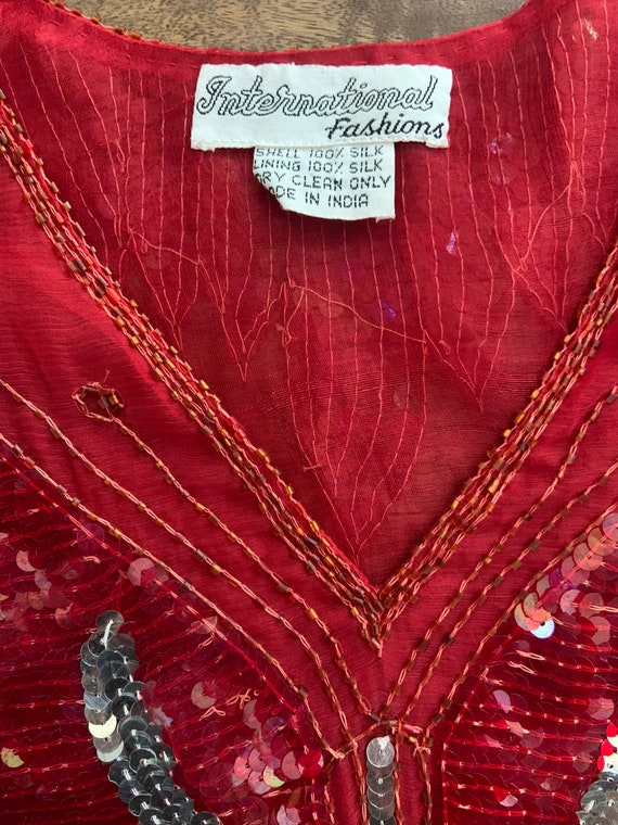 Vintage 1980's Red Sequined Butterfly Blouse - image 8