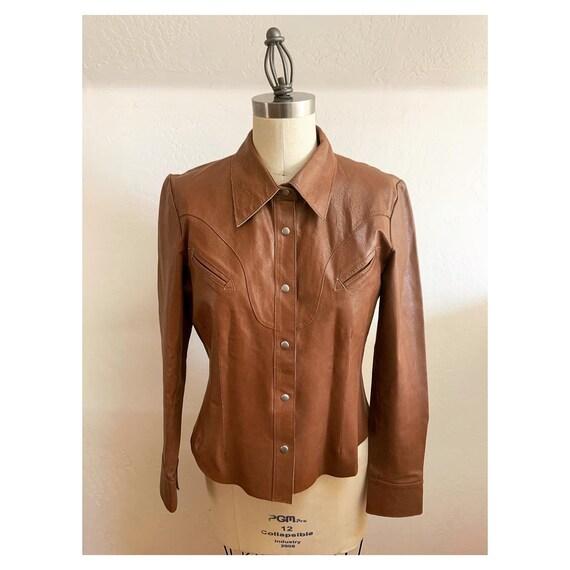 Vintage Western Leather Shirt Medium