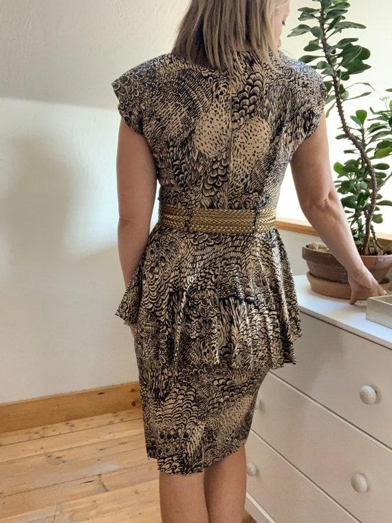 Vintage 1980's Feather Print Peplum Dress. - image 6