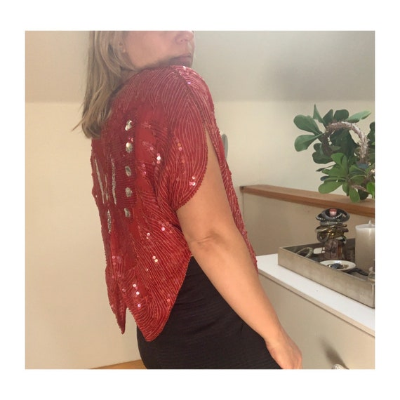 Vintage 1980's Red Sequined Butterfly Blouse - image 7