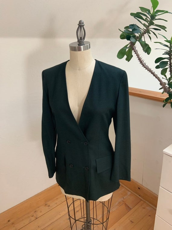 Vintage 1990's Jaeger Green Double Breasted Blazer - image 9