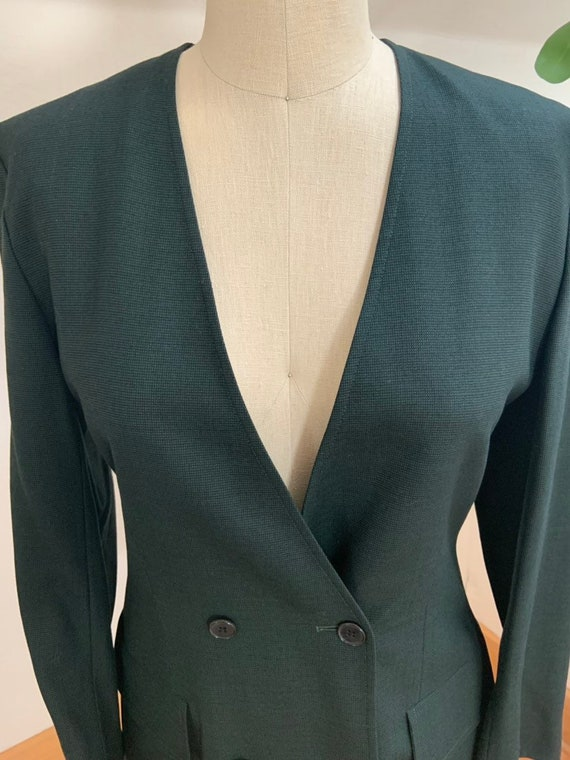 Vintage 1990's Jaeger Green Double Breasted Blazer - image 4