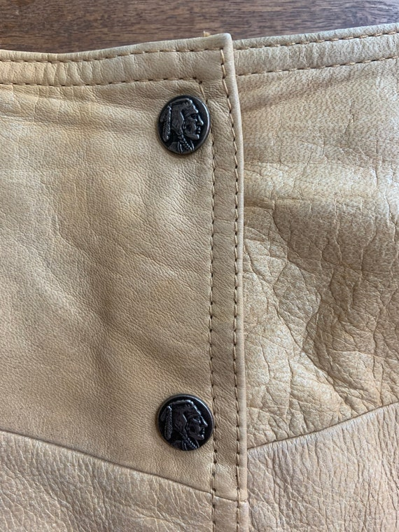 Vintage Tan Leather Snap Front Western Mini Skirt… - image 3