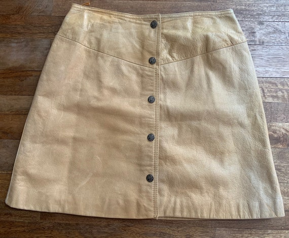 Vintage Tan Leather Snap Front Western Mini Skirt… - image 1