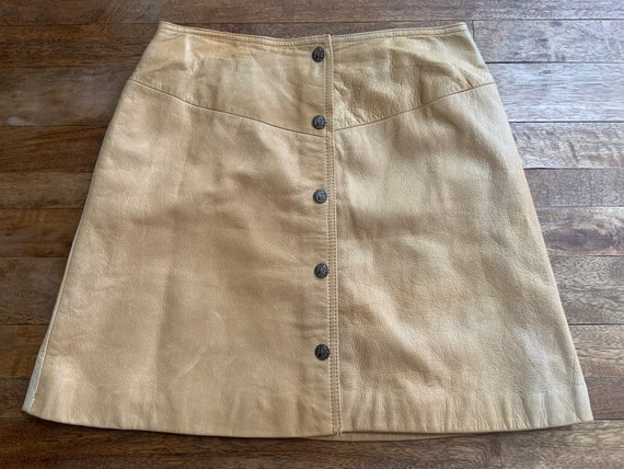 Vintage Tan Leather Snap Front Western Mini Skirt… - image 7
