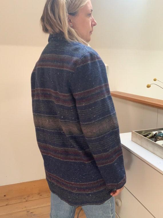 Vintage 1980's Striped Blanket Coat Large - image 4