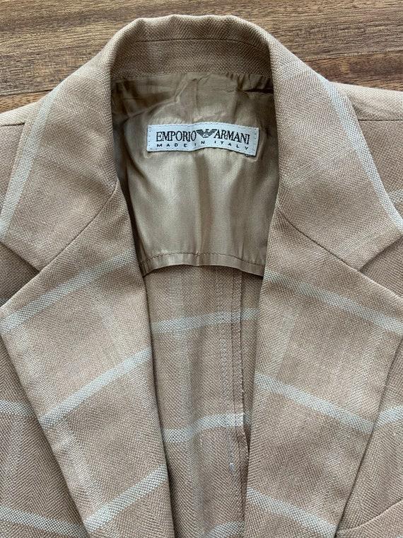 Vintage 1990's Tan Plaid Armani Blazer Medium - image 4