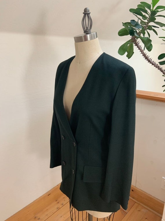 Vintage 1990's Jaeger Green Double Breasted Blazer - image 3