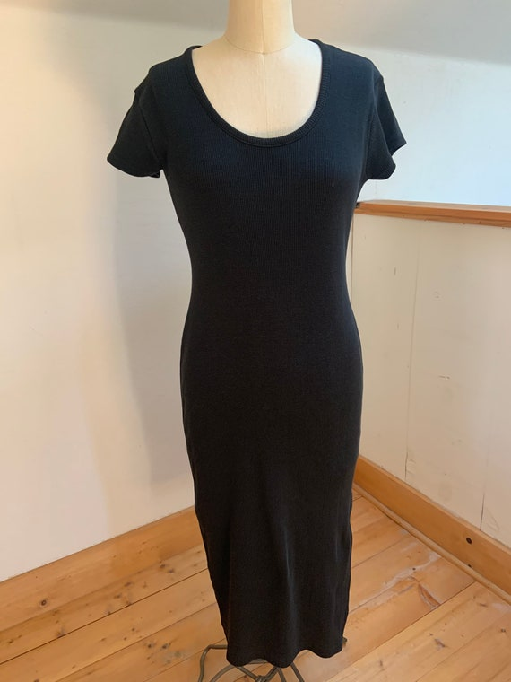 Vintage 1990's Ribbed Cotton Tee Dress Medium - image 10