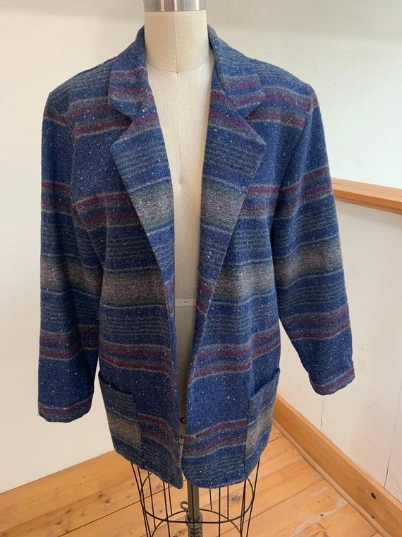 Vintage 1980's Striped Blanket Coat Large - image 1