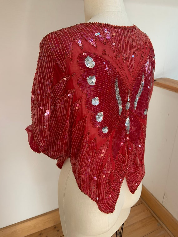 Vintage 1980's Red Sequined Butterfly Blouse - image 5